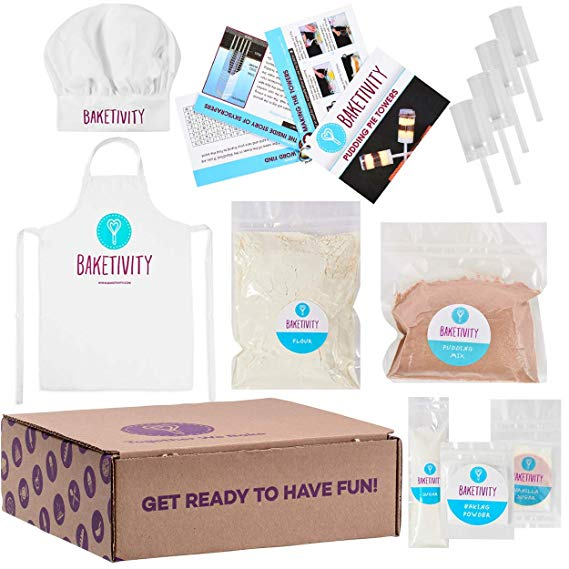 Baketivity Kids Baking Set, Meal Cooking Party Supply Kit for Teens, Real Fun Little Junior Chef Essential Kitchen Lessons, Includes Pre-Measured Ingredients Pudding Pie Towers with Hat and Apron Profile Picture