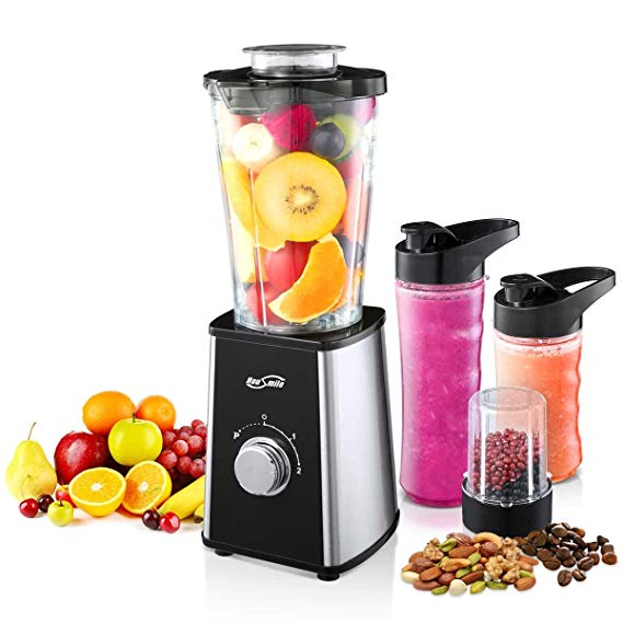 Housmile Smoothie Blender, 7-Piece Countertop with 300 Watt Base, High-Speed for Shakes and Smoothies & Ice, Ice, White Profile Picture